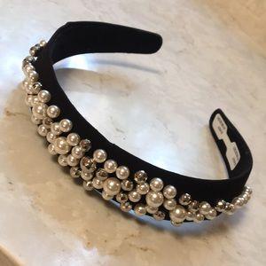 Anthropologie Pearl Embellished Velvet Headband